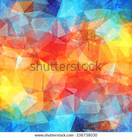 Abstract colored grunge bright summer background, triangular geometric style - stock vector