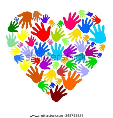 Abstract colored heart shape from human hand print icons. blue, red, green, yellow, orange and purple color hands silhouette forming a heart. vector art image illustration isolated on white background