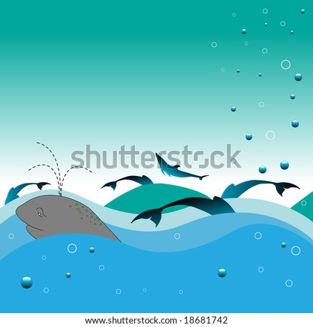 Abstract colored illustration with whale swimming in the water, dolphin shapes, water waves and blue bubbles - stock vector