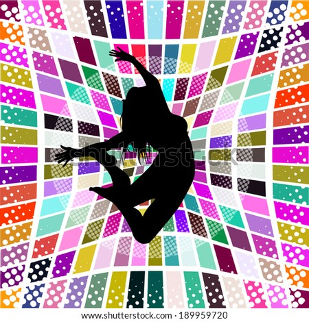 Abstract colored jump acrobat. Vector - stock vector