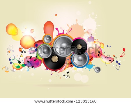 abstract colored music background with vinyl and musical note