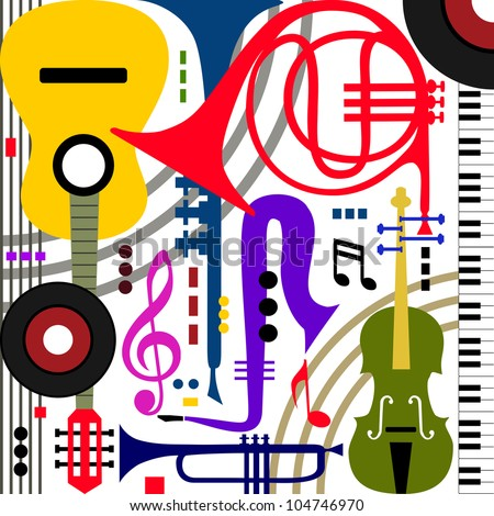 Abstract colored music instruments on white, full scalable vector graphic, change the colors as you like