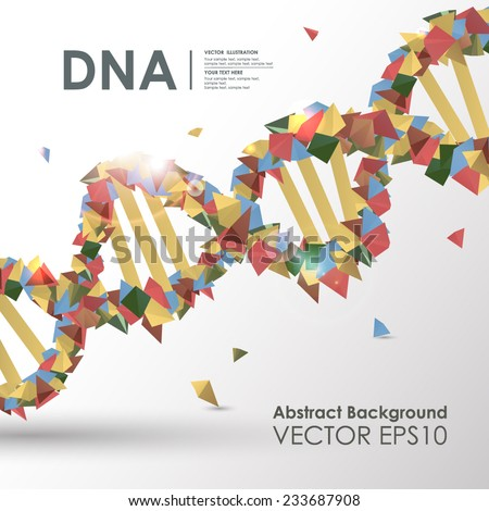 Abstract colored polygonal design concept background DNA. Vector business medical illustration - stock vector