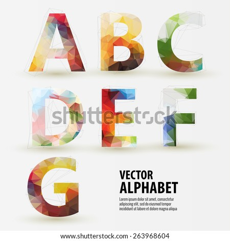 Abstract colored polygonal triangular modern alphabet design background. Vector illustration - part 1