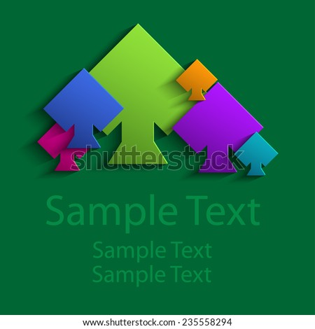 Abstract colored Suits of the cards peaks - stock vector
