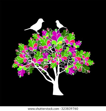 Abstract colored tree with birds. Vector - stock vector