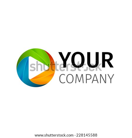 Abstract colored vector play logotype - stock vector