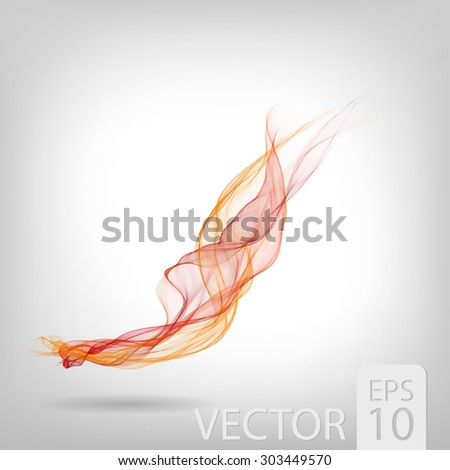 Abstract colored wave lines VECTOR. Fluid smoke like shape constructed from polygons. - stock vector
