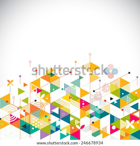 Abstract colorful and creative geometrical template on bottom for corporate business or media, vector illustration