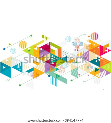 Abstract colorful and creative mix geometric background, vector illustration