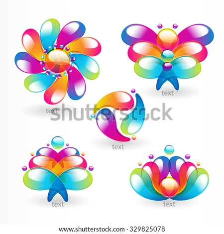 Abstract colorful arc-drop design element. Vector.  - stock vector