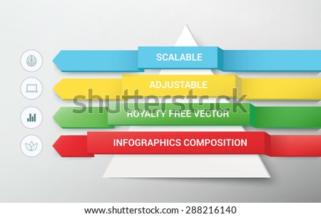 Abstract Colorful Arrows & Paper Cut Pyramid Composition for Your Infographics Design - stock vector