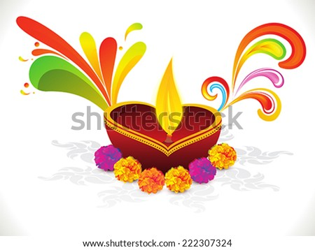 abstract colorful artistic diwali with marigold flowers vector illustration - stock vector
