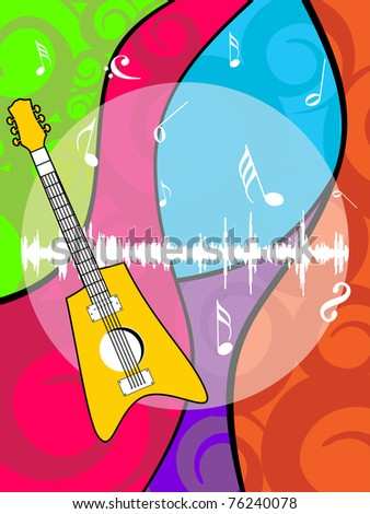 abstract colorful artwork, musical notes background with isolated guitar - stock vector