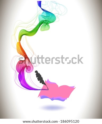 Abstract colorful background book icon and wave, education design, VECTOR - stock vector
