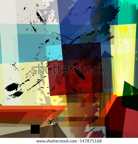 abstract colorful background composition, with strokes, splashes and geometric lines, halftone - stock vector