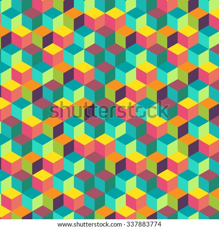 Abstract colorful background geometric style with flying 3d squeres