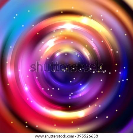 Abstract colorful background, Shining circle tunnel. Elegant modern geometric wallpaper.   Vector  illustration. Pink, yellow, purple, blue colors.  - stock vector