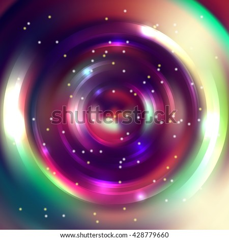 Abstract colorful background, Shining circle tunnel. Elegant modern geometric wallpaper.   Vector  illustration. Pink, purple, green, yellow colors.  - stock vector