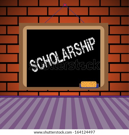 Abstract colorful background with a blackboard hanging on a brick wall and the text scholarship written on the blackboard