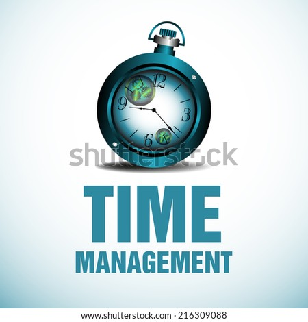 Abstract colorful background with a blue watch above the text time management written in blue - stock vector