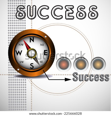Abstract colorful background with a brown compass indicating the direction of success. Success concept - stock vector