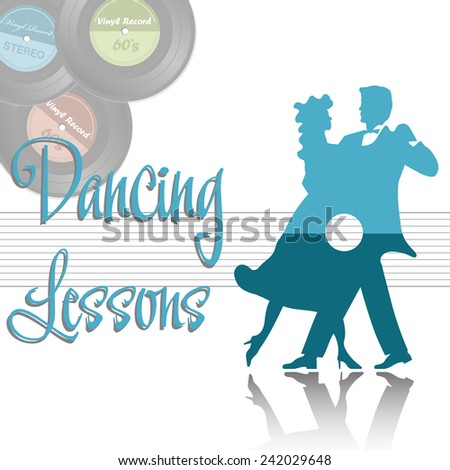 Abstract colorful background with a dancing couple and a few vinyl records. Dancing lessons concept - stock vector