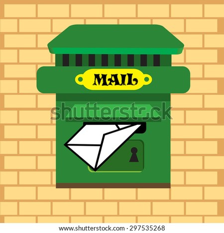 Abstract colorful background with a green mailbox on a brick wall - stock vector