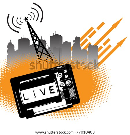 Abstract colorful background with a live show transmitted on TV. Live transmission concept - stock vector