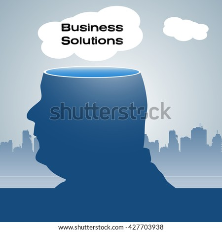 Abstract colorful background with a man with his head sliced off and a white cloud with the text business solutions floating above his head - stock vector