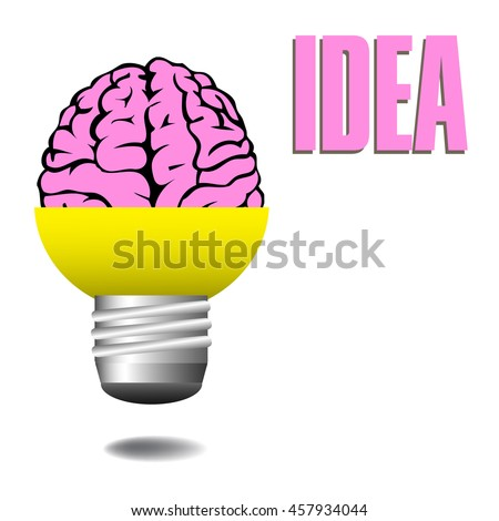 Abstract colorful background with a pink brain coming out from a light bulb. Idea concept - stock vector