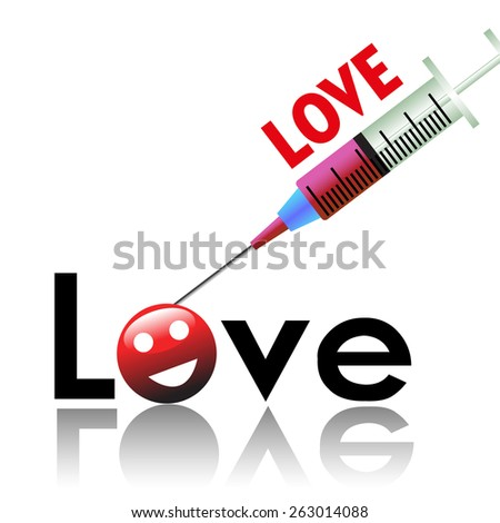 Abstract colorful background with a syringe injecting love into the word love - stock vector