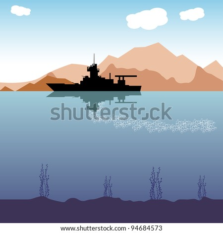 Abstract colorful background with a war vessel silhouette sailing near the shore - stock vector
