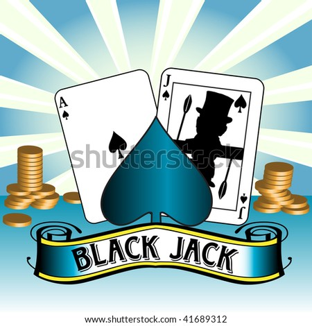 Abstract colorful background with ace of spades, black jack and golden coins - stock vector