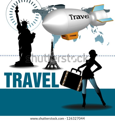 Abstract colorful background with an attractive woman preparing for travel, various landmarks and a white blimp on which is written the word travel. Travel theme - stock vector
