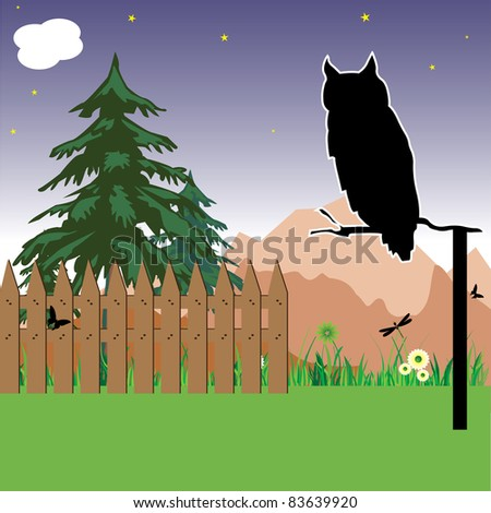 Abstract colorful background with an owl watching during the night - stock vector