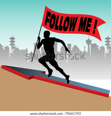 Abstract colorful background with athlete silhouette running up on a hill and holding a red flag on which is written follow me