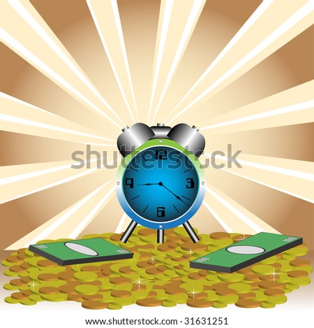 Abstract colorful background with blue clock on golden coins and green banknotes. Time is money concept - stock vector