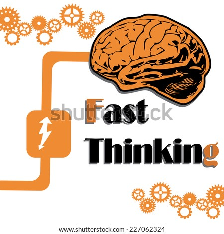 Abstract colorful background with brain, gears and the text fast thinking written under the brain - stock vector