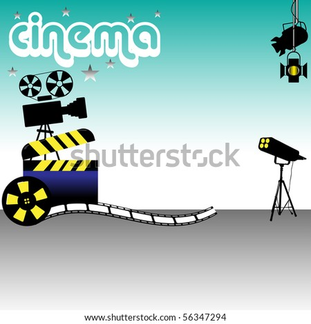Abstract colorful background with clapboard, film reel, stage lights and movie projector. Cinema theme - stock vector