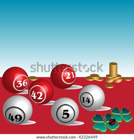 Abstract colorful background with colored lottery balls, green clovers, small ladybird and golden coins. Lottery concept - stock vector
