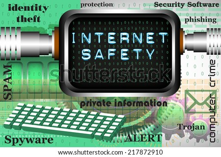 Abstract colorful background with computer screen connected to the internet and the text internet safety written on the screen. Online safety theme - stock vector