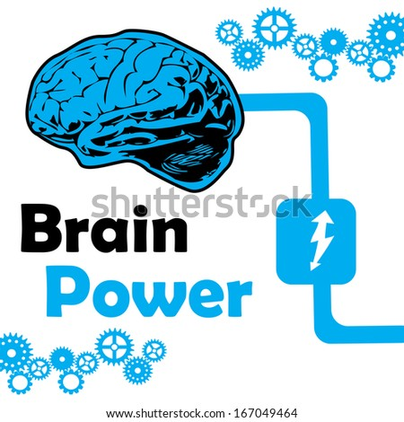Abstract colorful background with connected brain and blue gears. Brain power concept - stock vector