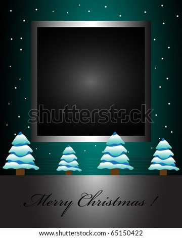 Abstract colorful background with dark frame surrounded by small snowflakes and small fir trees covered by snow at the bottom. Christmas greeting