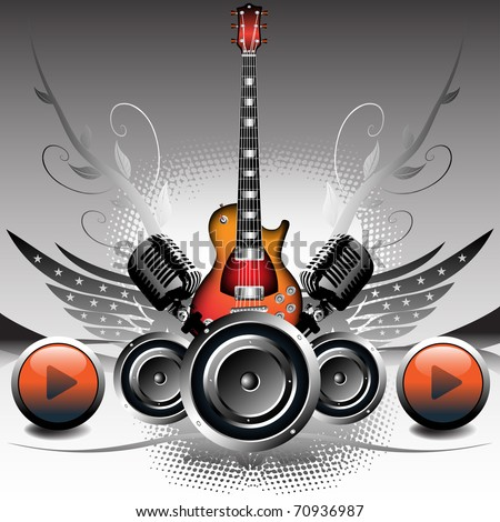 Abstract colorful background with electric guitar, loudspeakers, wings and colored play buttons. Concert design - stock vector
