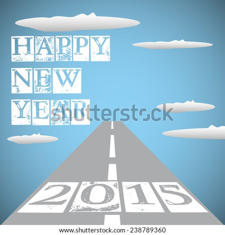 Abstract colorful background with endless road in the sky among clouds and the year 2015 written at the beginning of the road. New Year theme - stock vector