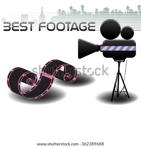 Abstract colorful background with film reel, movie projector and the text best footage written with black letters - stock vector
