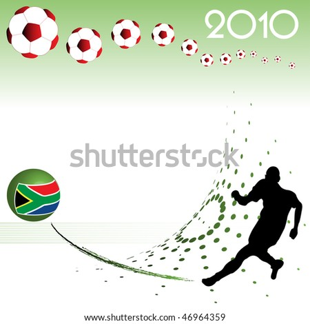 Abstract colorful background with football player kicking a colorful sphere. Football world cup theme - stock vector