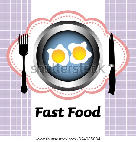 Abstract colorful background with fork, knife and two fried eggs on a blue plate. Fast food concept - stock vector