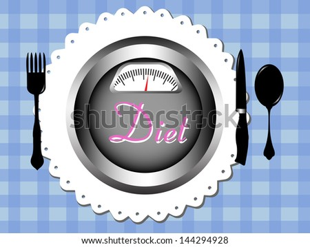 Abstract colorful background with fork, spoon, knife and a plate having the text diet written with pink letters